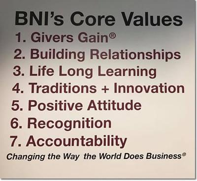 BNI Northern California Core Values